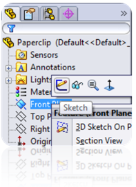 001 sketch on frontplane1 How to Model a Paperclip in SolidWorks?