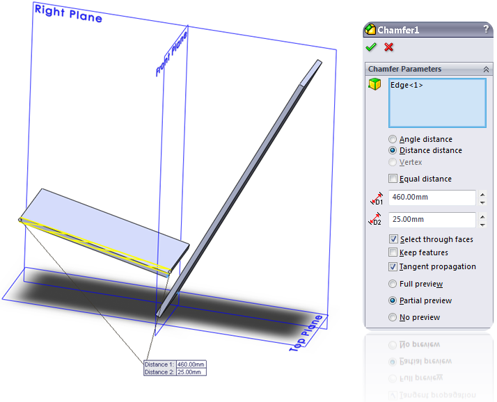 Add a Chamfer in SolidWorks
