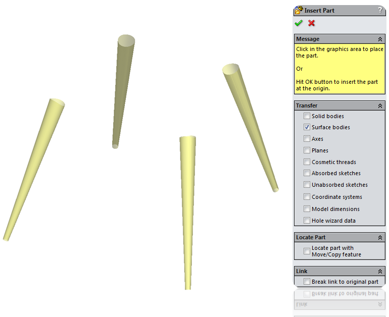 Import surfaces in SolidWorks