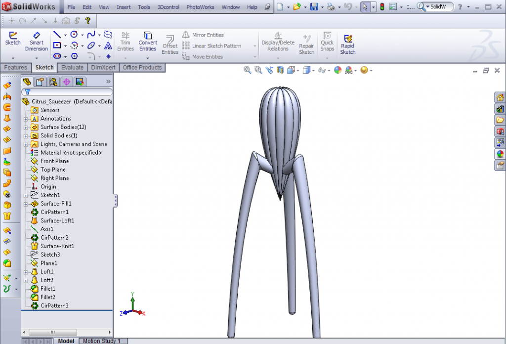 01 Citrus Squeezer Model 1024x696 How to Measure a Surface Area, Volume or Mass in SolidWorks?