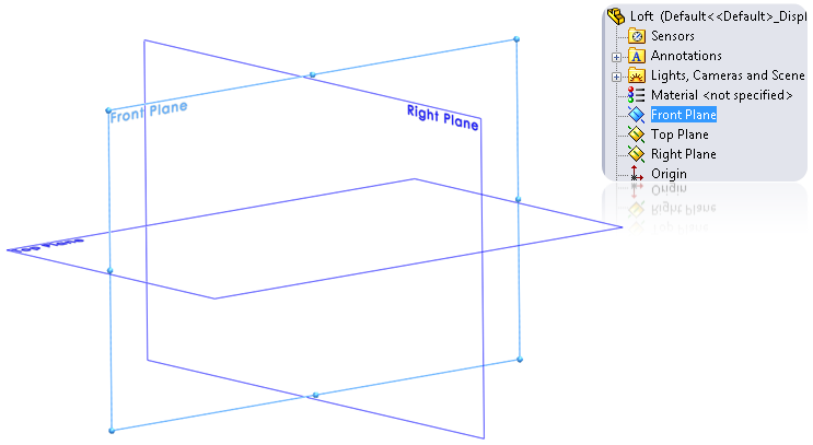 01 create a 2d sketch in solidworks Boss/Base Loft feature