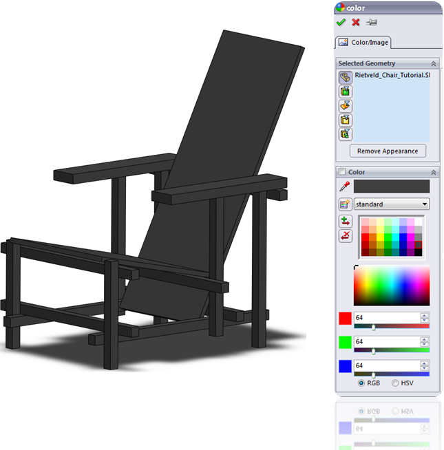 Assign a color to a Part in SolidWorks