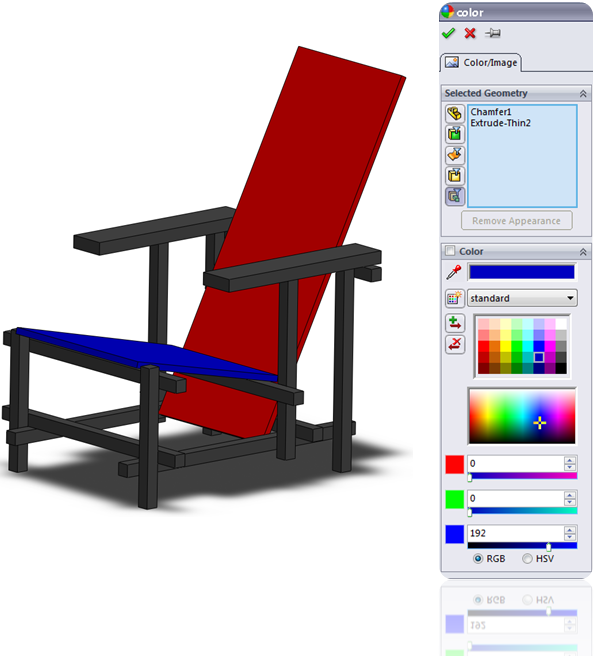 Assign a color to a Feature in SolidWorks