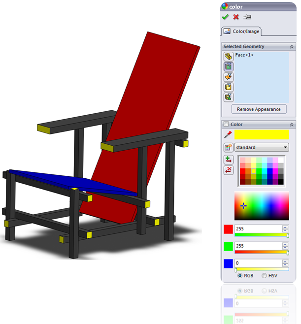 Assign a color to a Face in SolidWorks