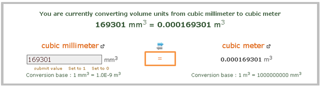 Volume Converter from mm3 to m3