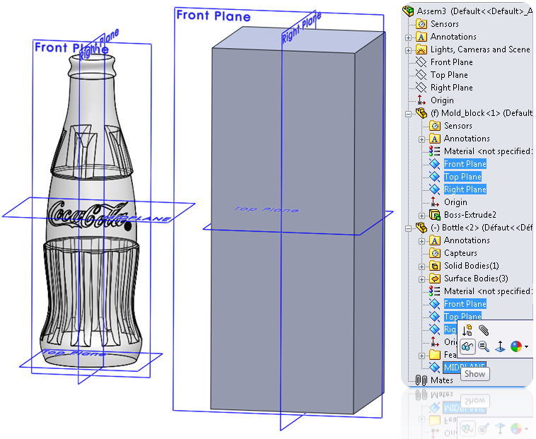 08 show planes How to Draw a Coke Bottle Mold in SolidWorks?
