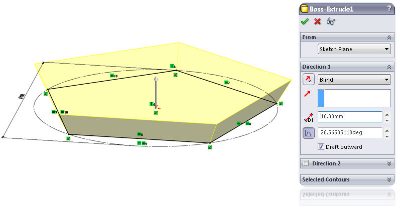 11 extrude draft How to Model a Dodecahedron in SolidWorks?