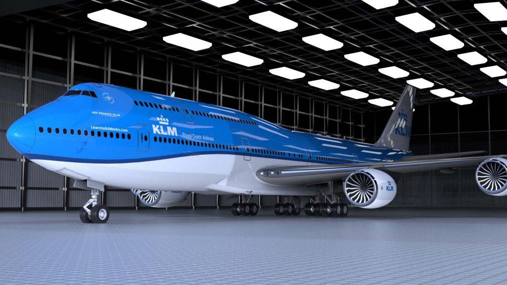 Keyshot rendering of the SolidWorks Boeing 747