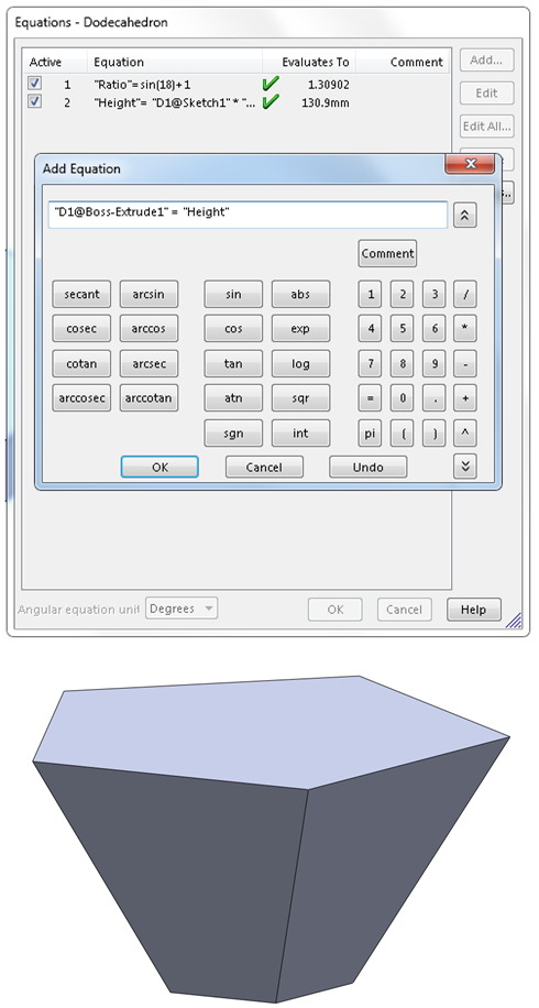 12 equations dodecahedron How to Model a Dodecahedron in SolidWorks?