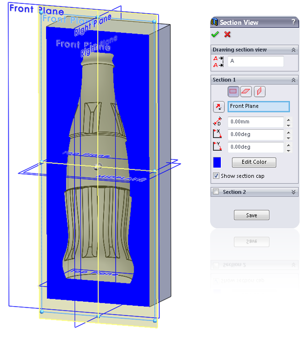 12 section view How to Draw a Coke Bottle Mold in SolidWorks?
