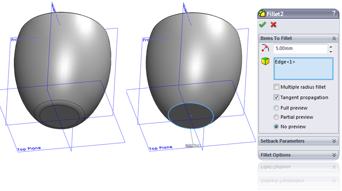 Add Fillet / Round in SolidWorks
