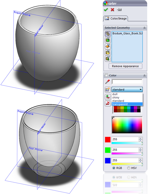 Change Transparency in SolidWorks