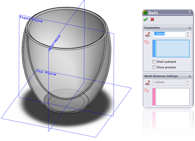 Solidworks tutorial learnsolidworks shell a solid volume in solidworks ccuart Image collections
