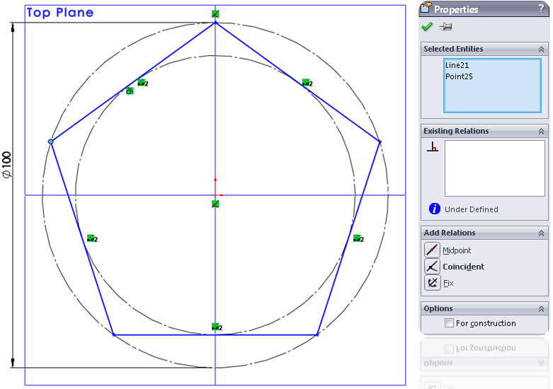 6 polygon dimension How to Model a Dodecahedron in SolidWorks?
