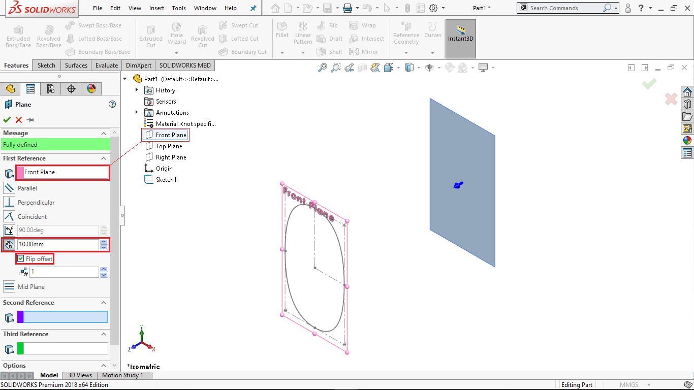 Reference Plane in Solidworks