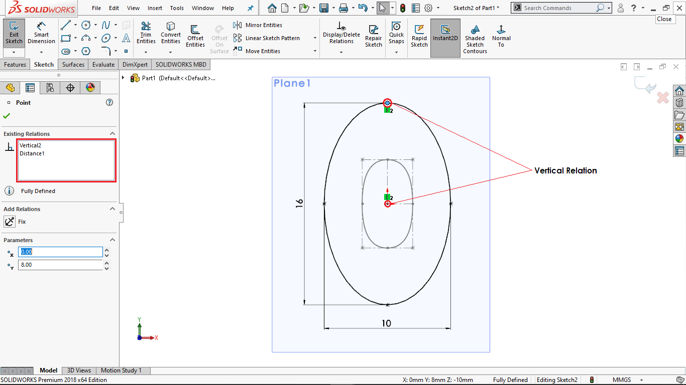 Constrained Ellipse in Solidworks