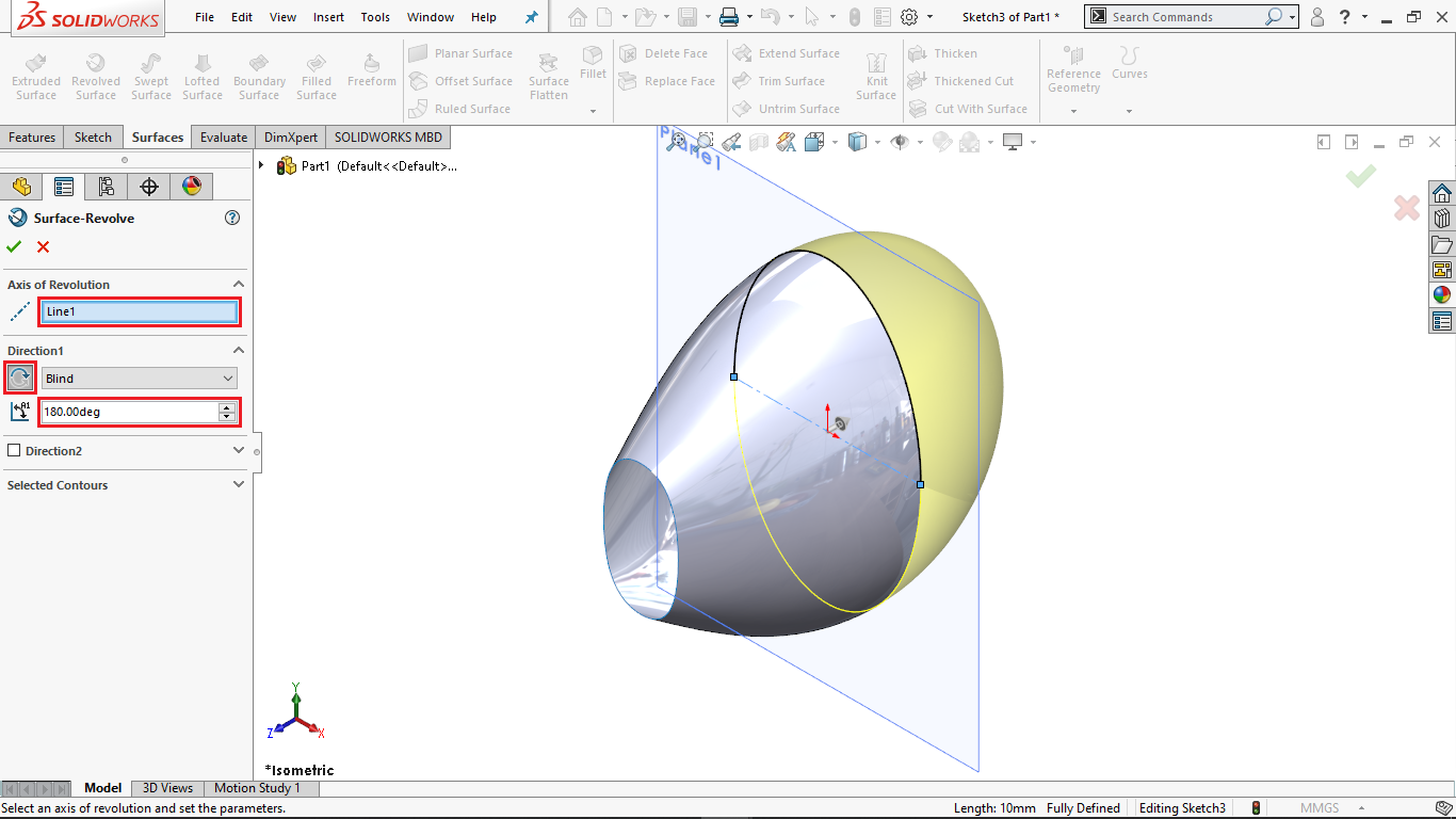 Surface Revolve in Solidworks
