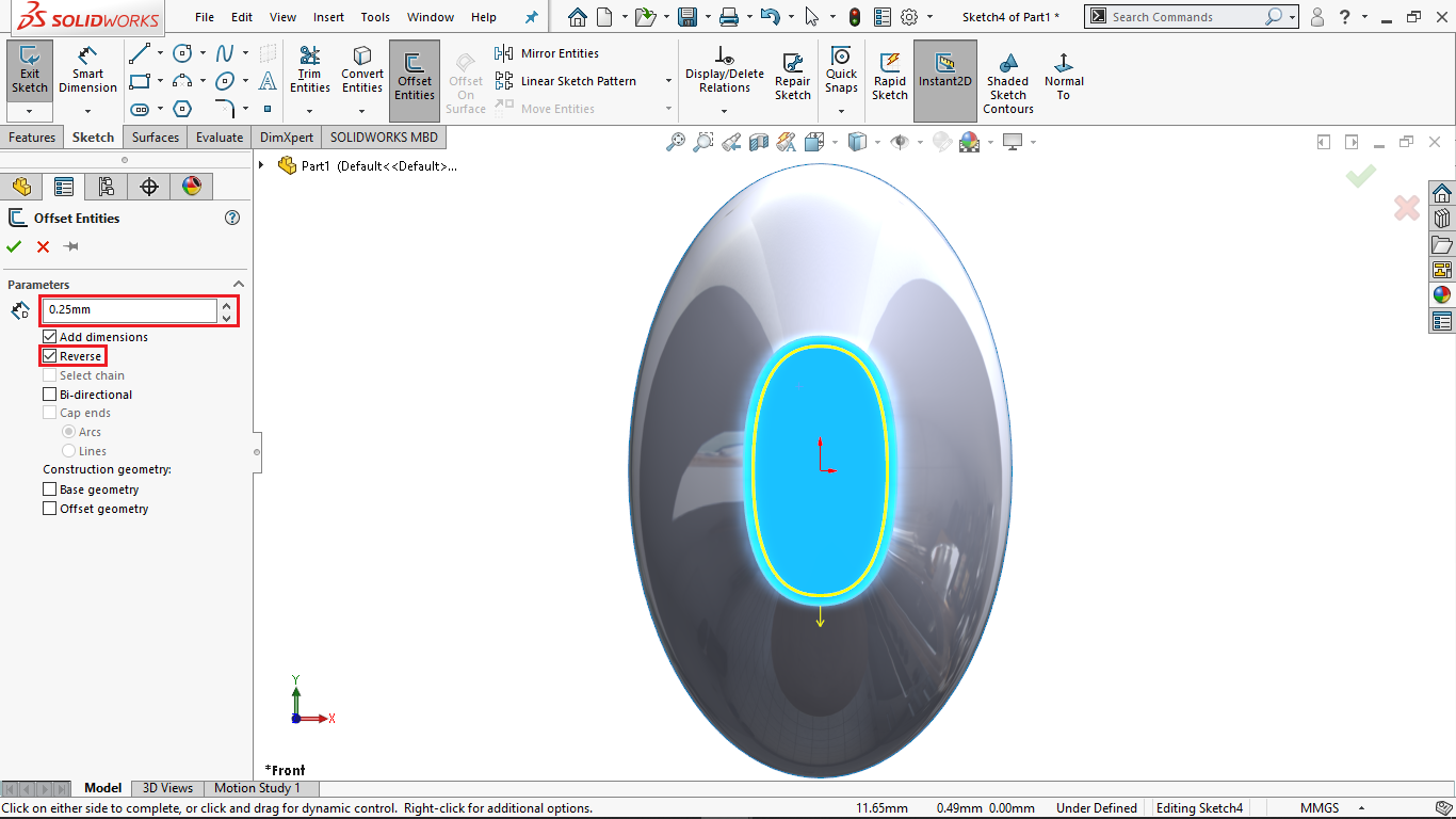 Offset entity in solidworks