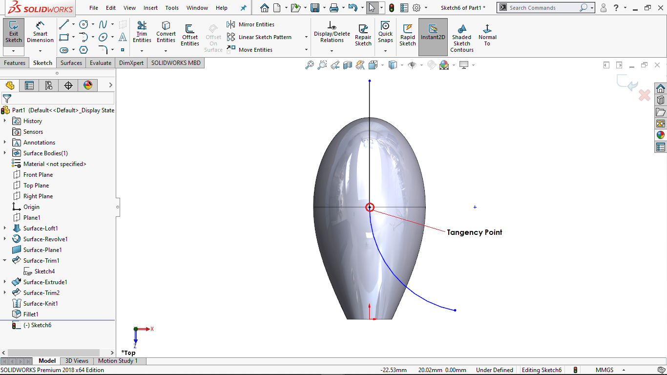 Vertical line with a tangent arc in Solidworks