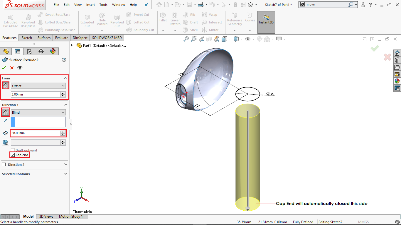 Extrude surface with capped ends in solidworks