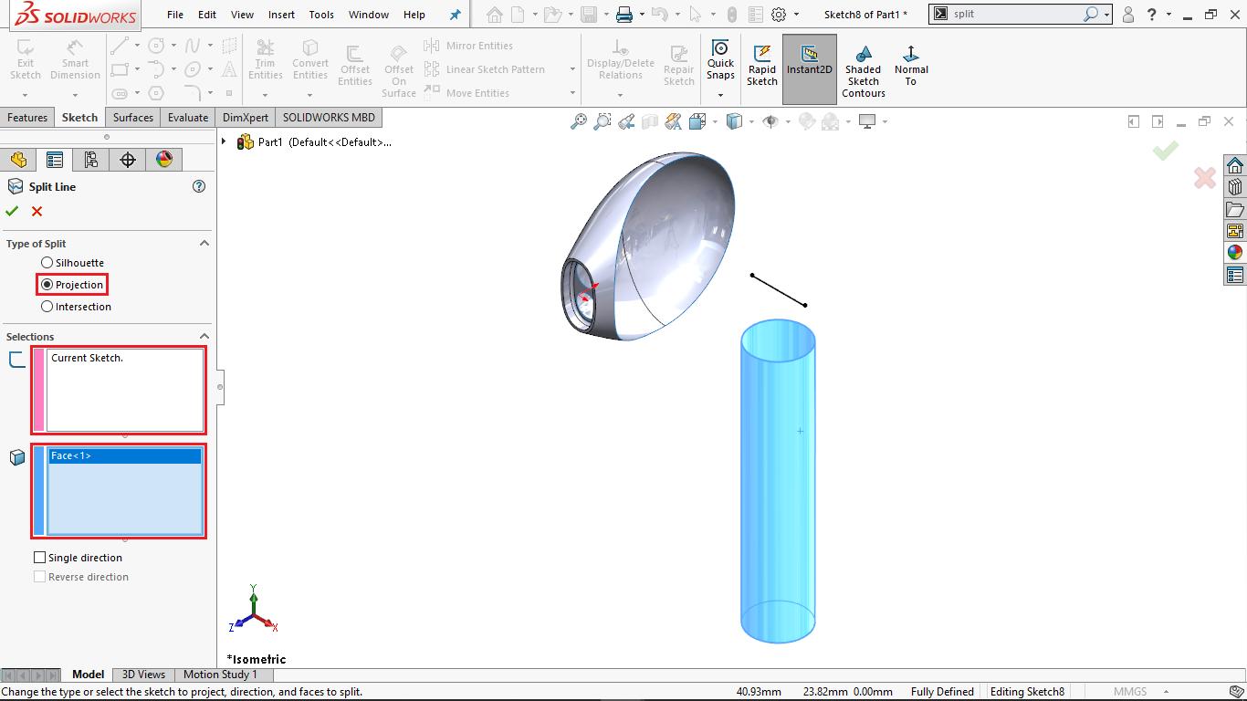 Split Line Tool in Solidworks