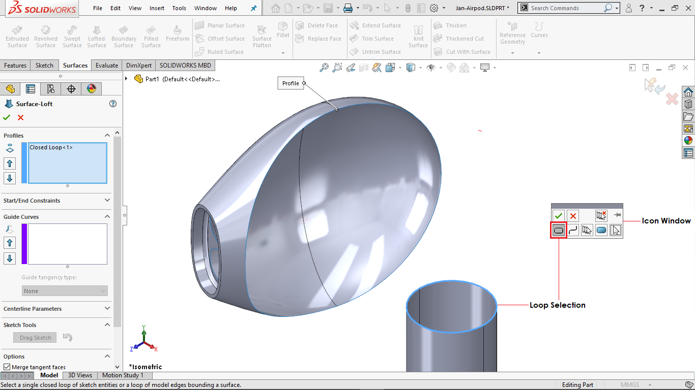 Selection manager of surface loft in solidworks