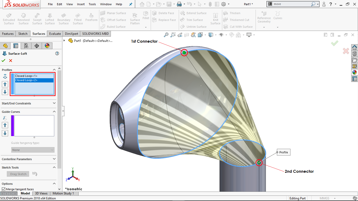 Loft Surface in Solidworks