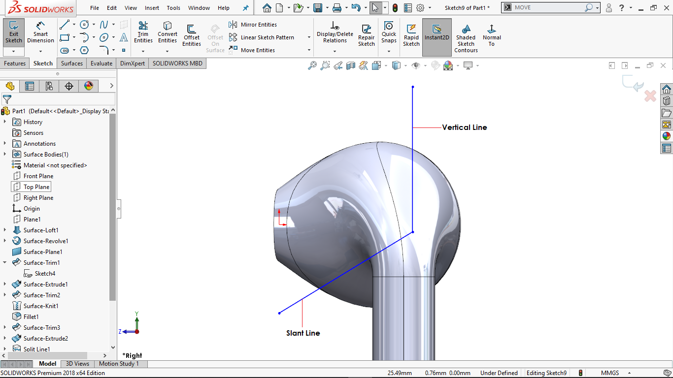 Two straight lines in solidworks