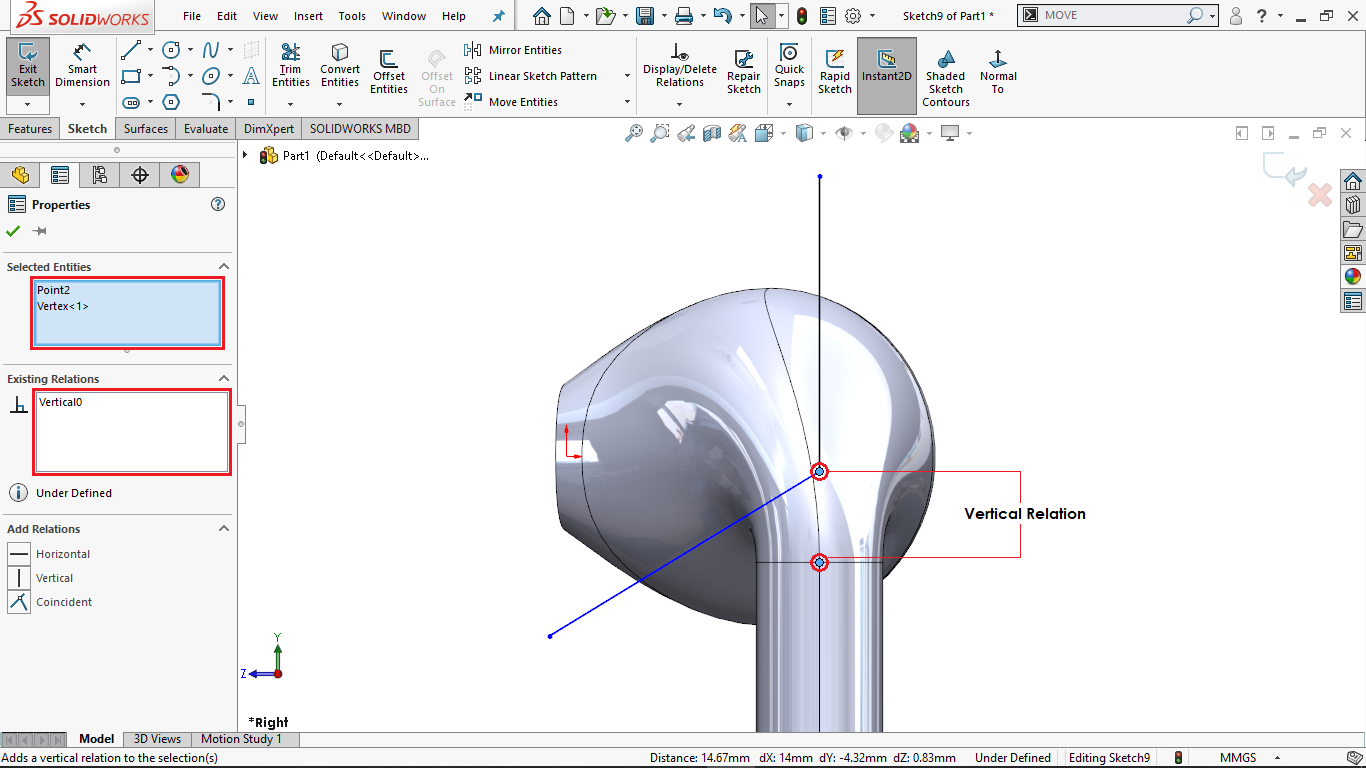 Partially defined sketch in solidworks