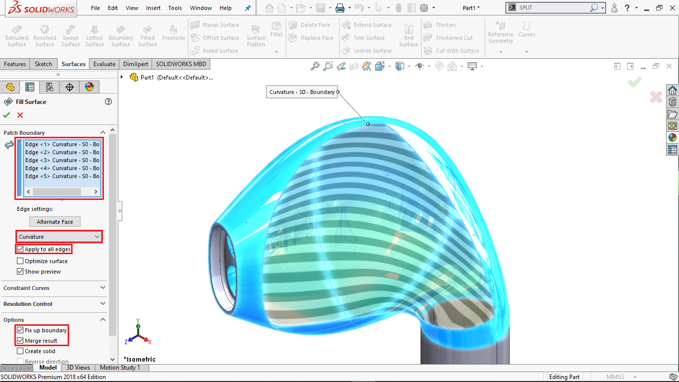 Surface fill command in solidworks