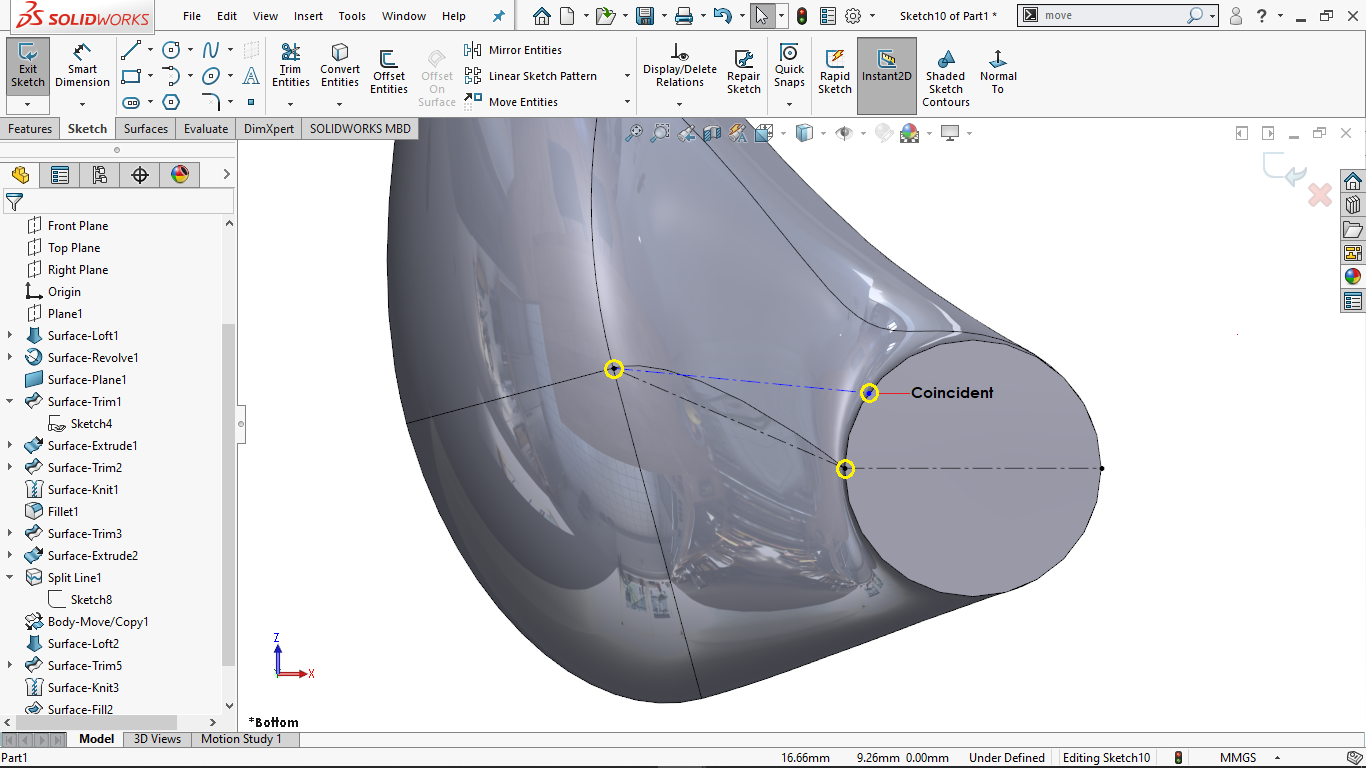 Partially defined sketch lines in solidworks