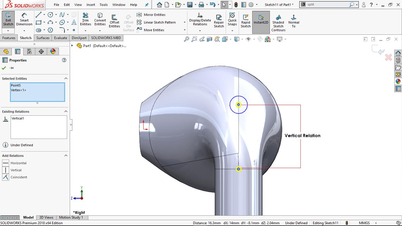 Partially defined circular sketch in solidworks
