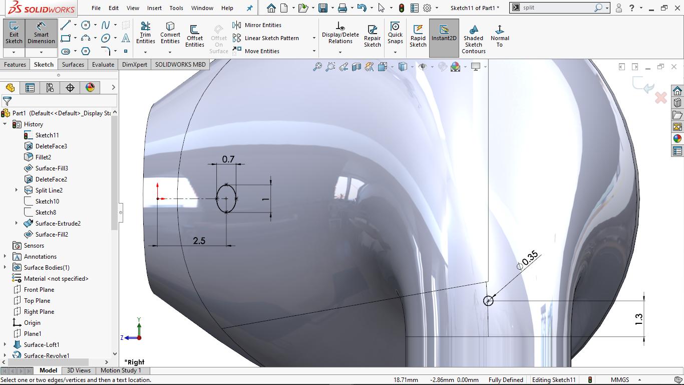 Fully defined elliptical sketch in solidworks