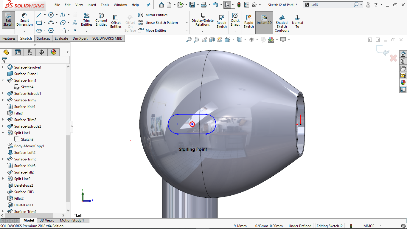 Centerpoint straight slot in solidworks