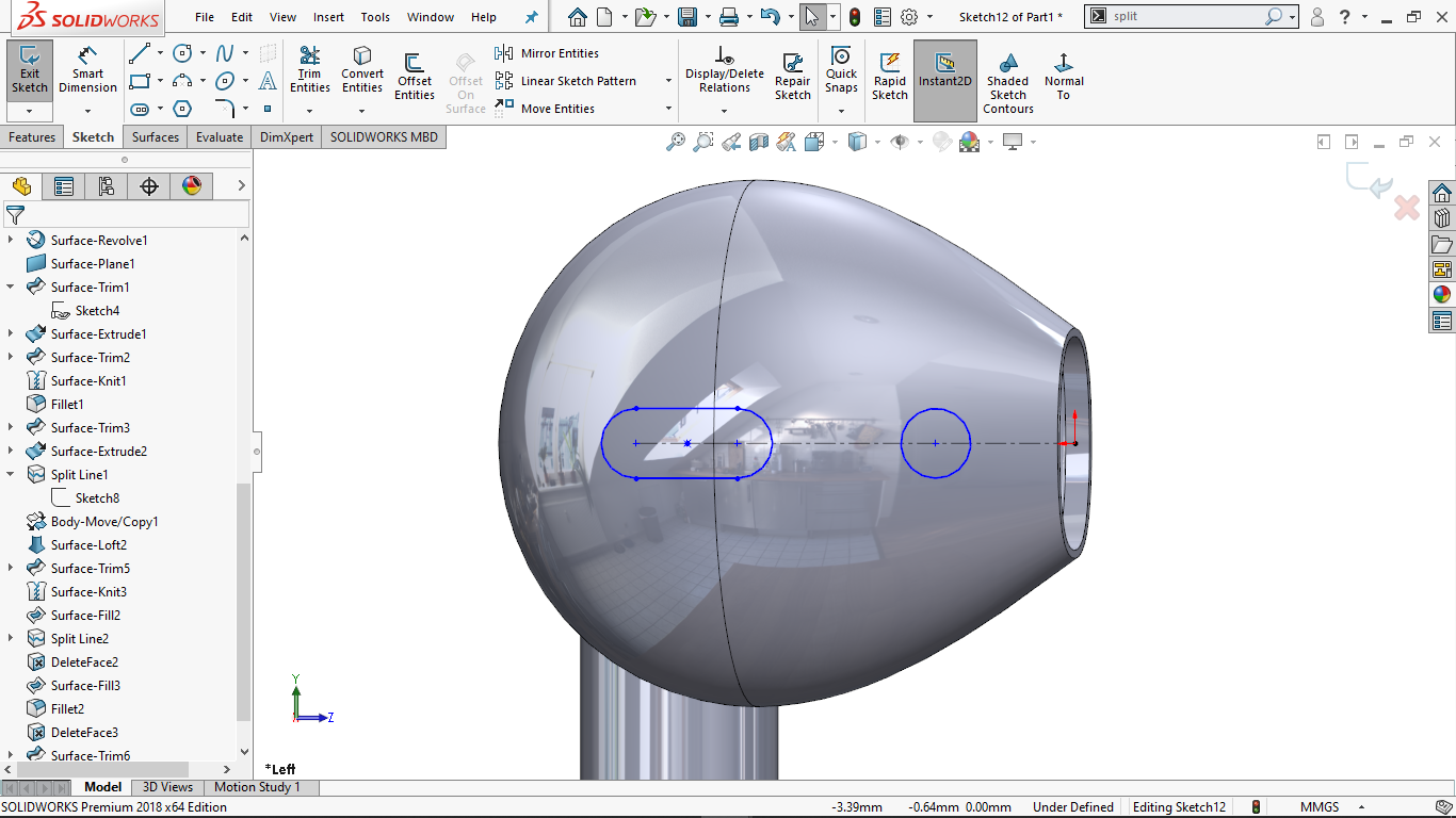 Centerpoint straight slot and a circular sketch in solidworks