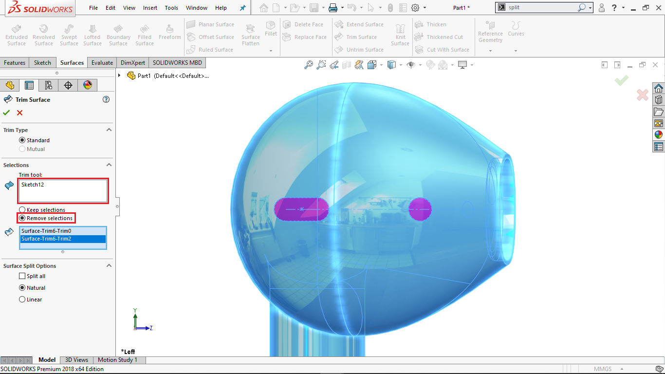 Surface trim in solidworks