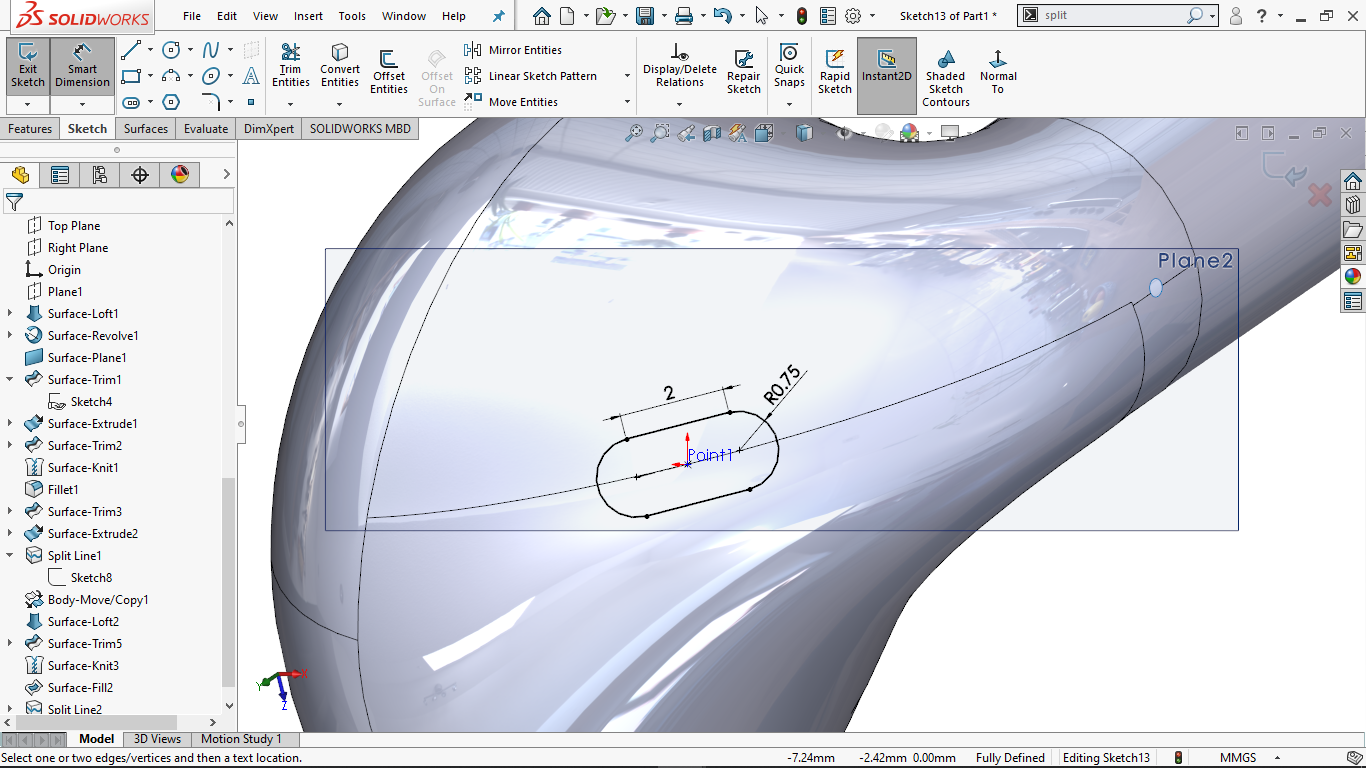 Fully defined Centerpoint straight slot in solidworks