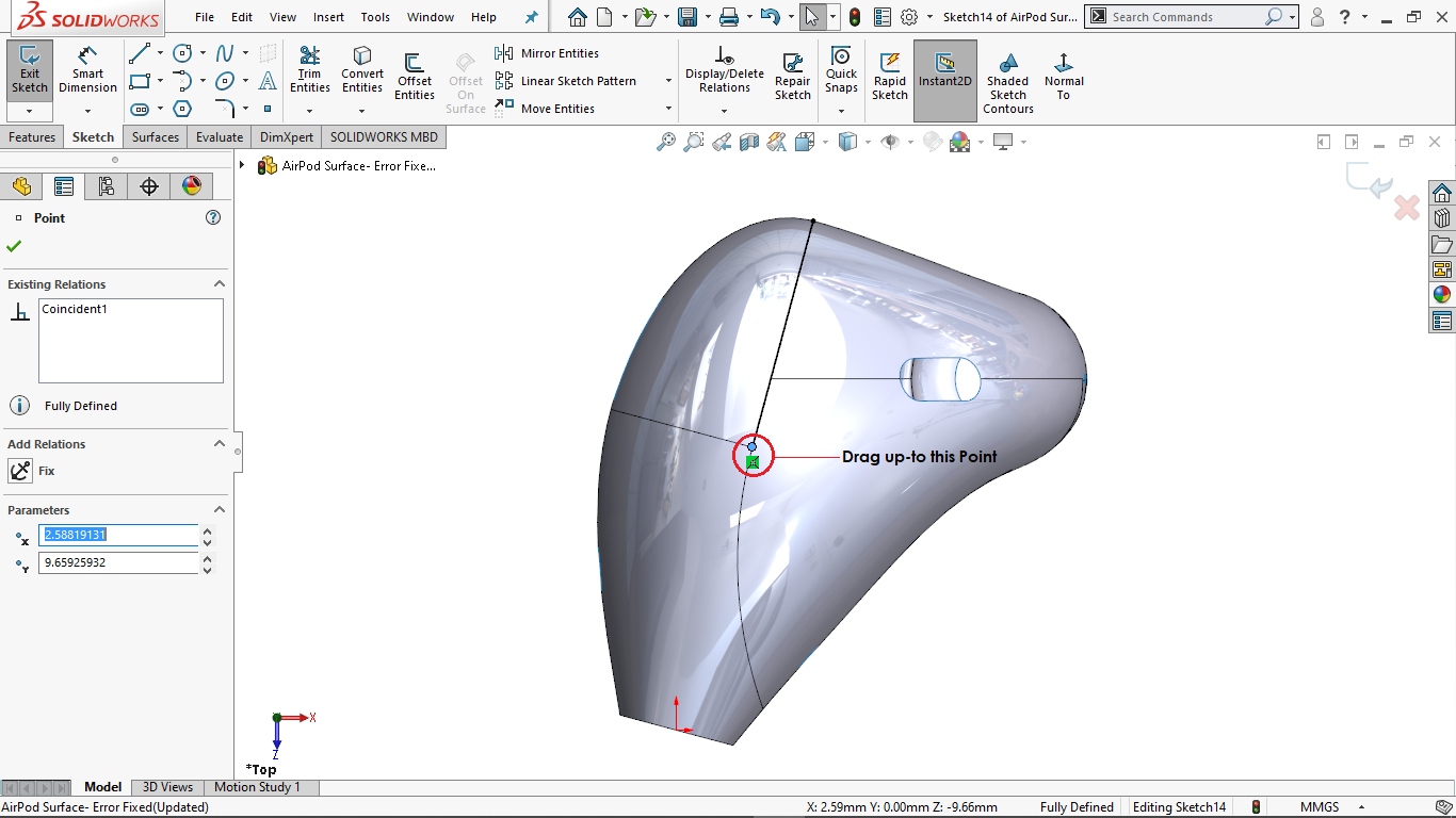 Drag the converted entity in solidworks
