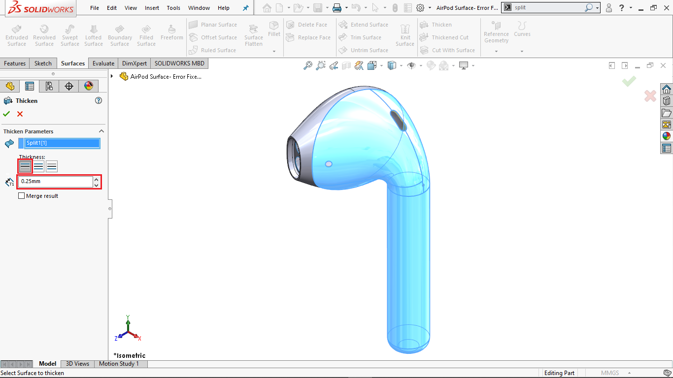 Thicken Tool in Solidworks