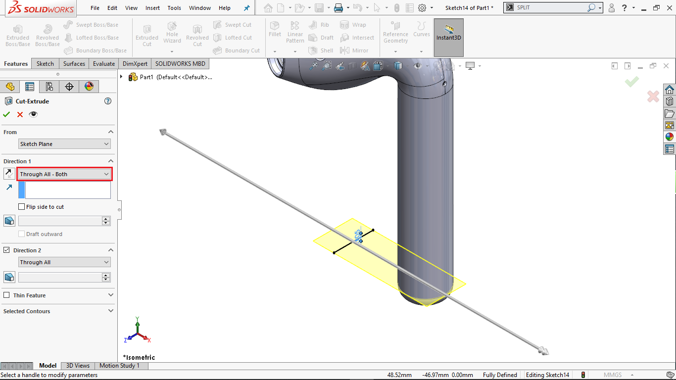 Thin Extrude Cut in Solidworks