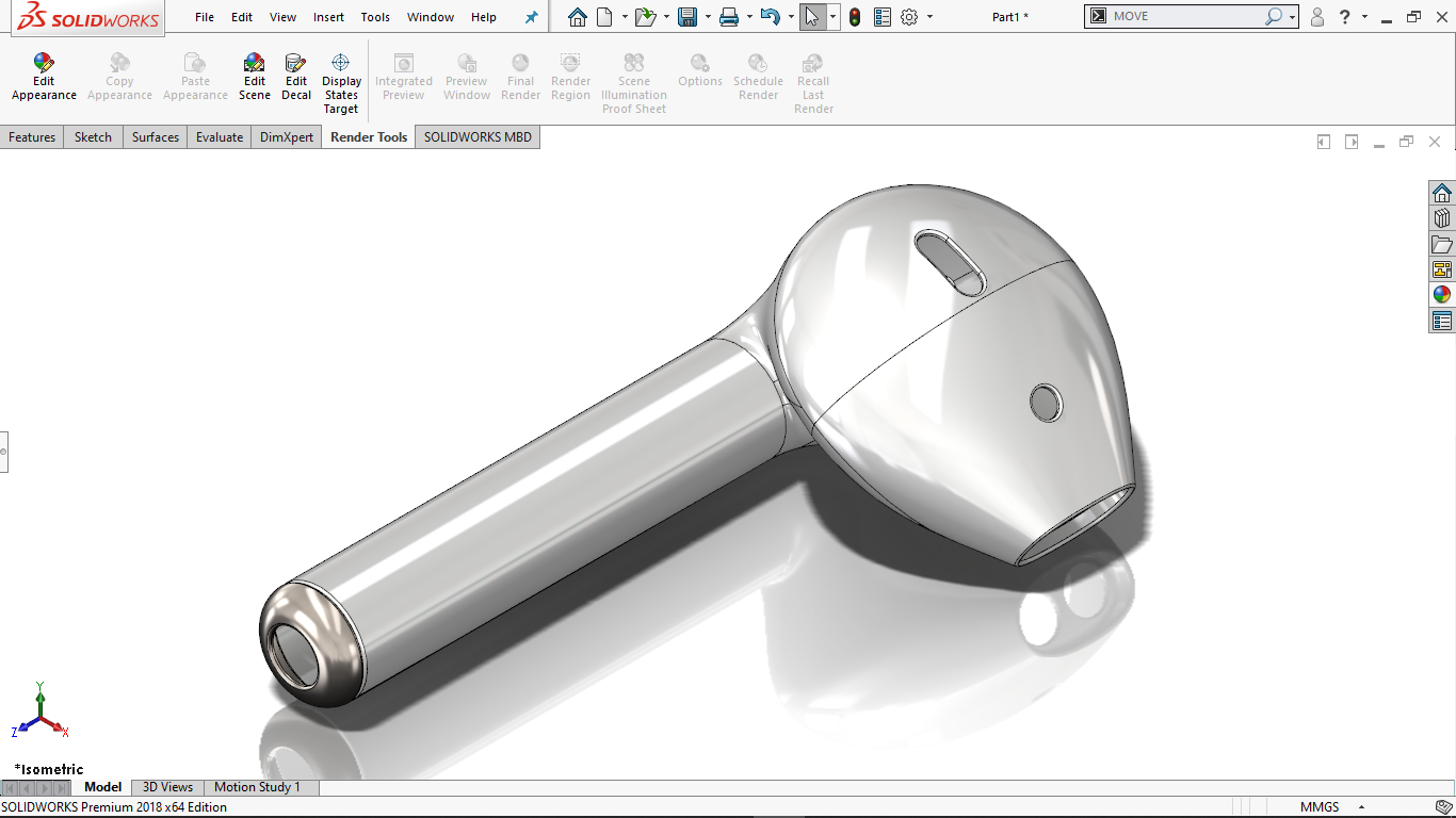 Real view image of AirPods in solidworks
