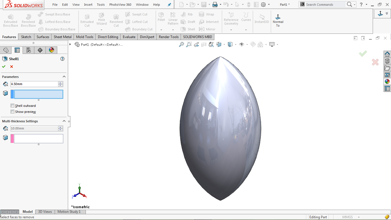 Shell feature in solidworks
