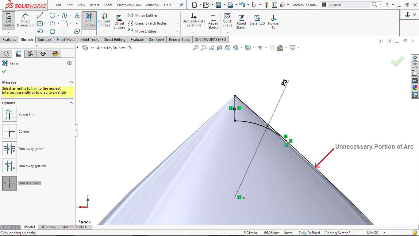 Fully defined 2d sketch in solidworks