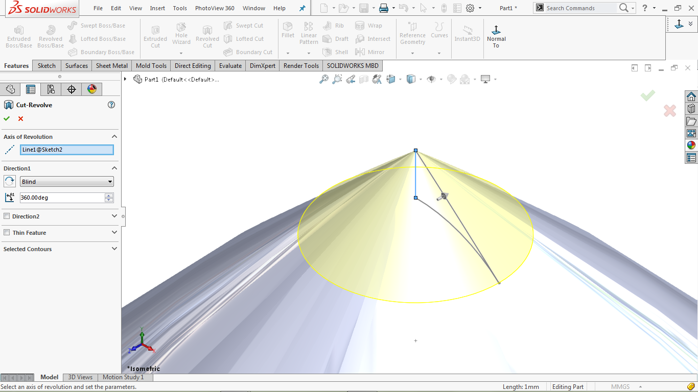 Revolve cut in solidworks
