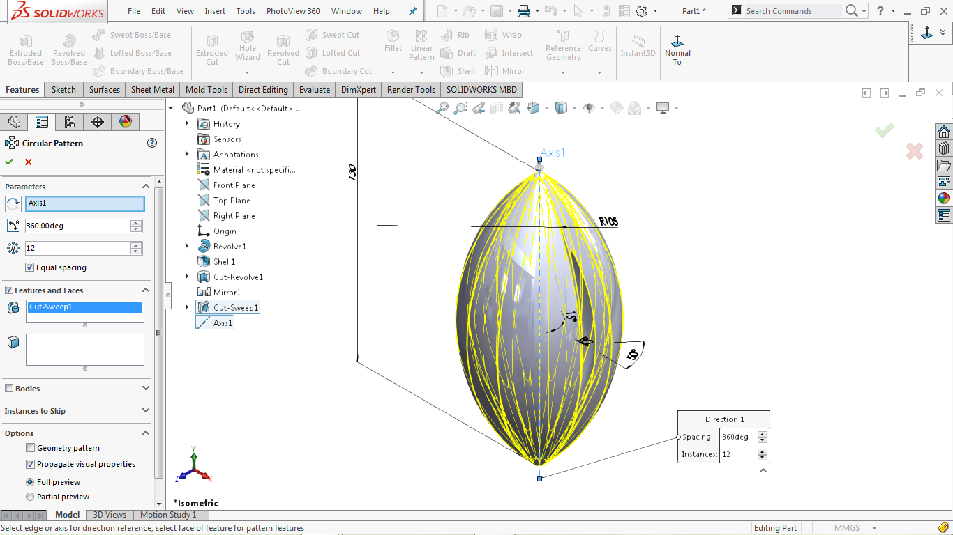 Circular feature in solidworks