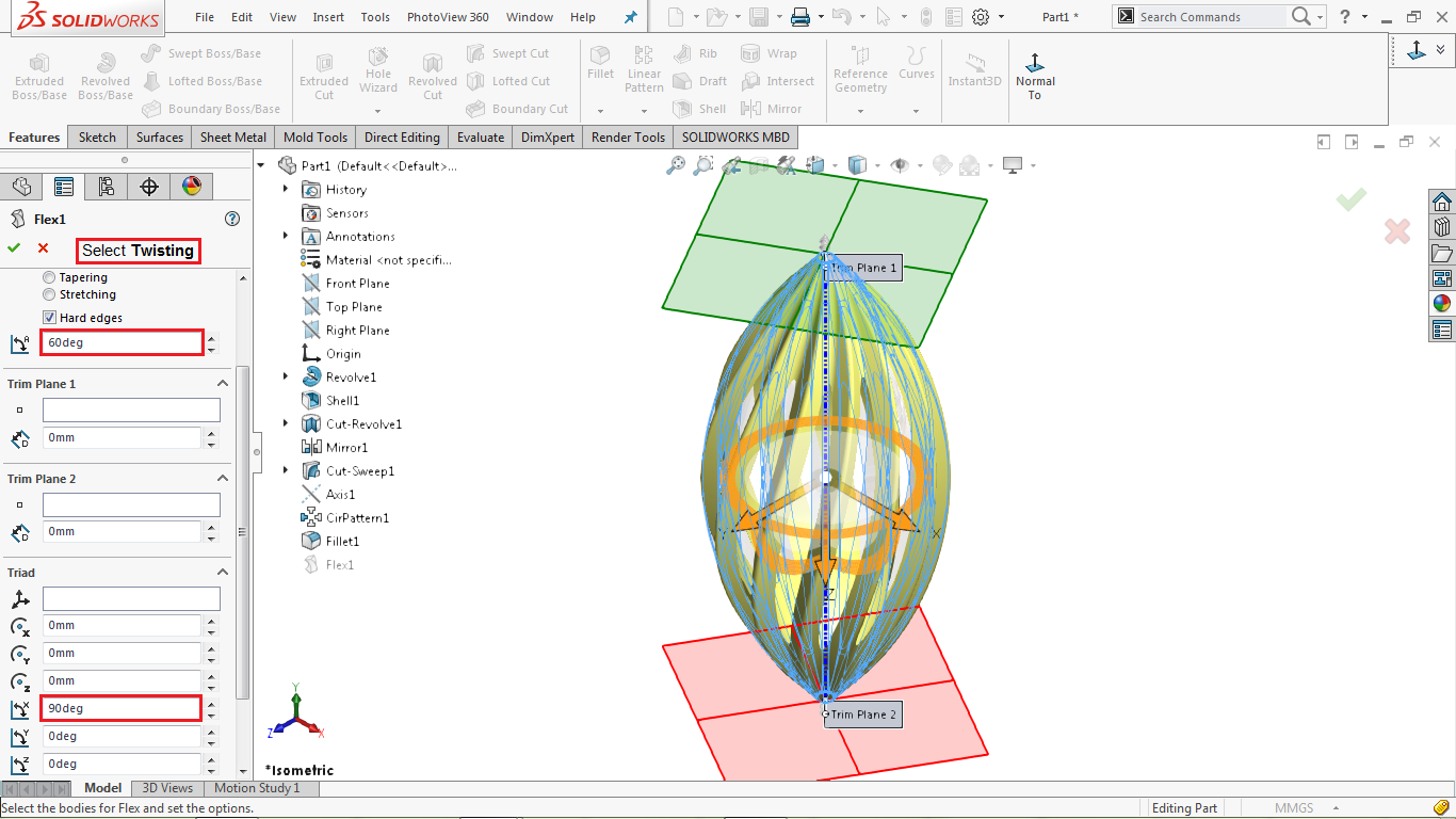 Twisting by Flex in solidworks