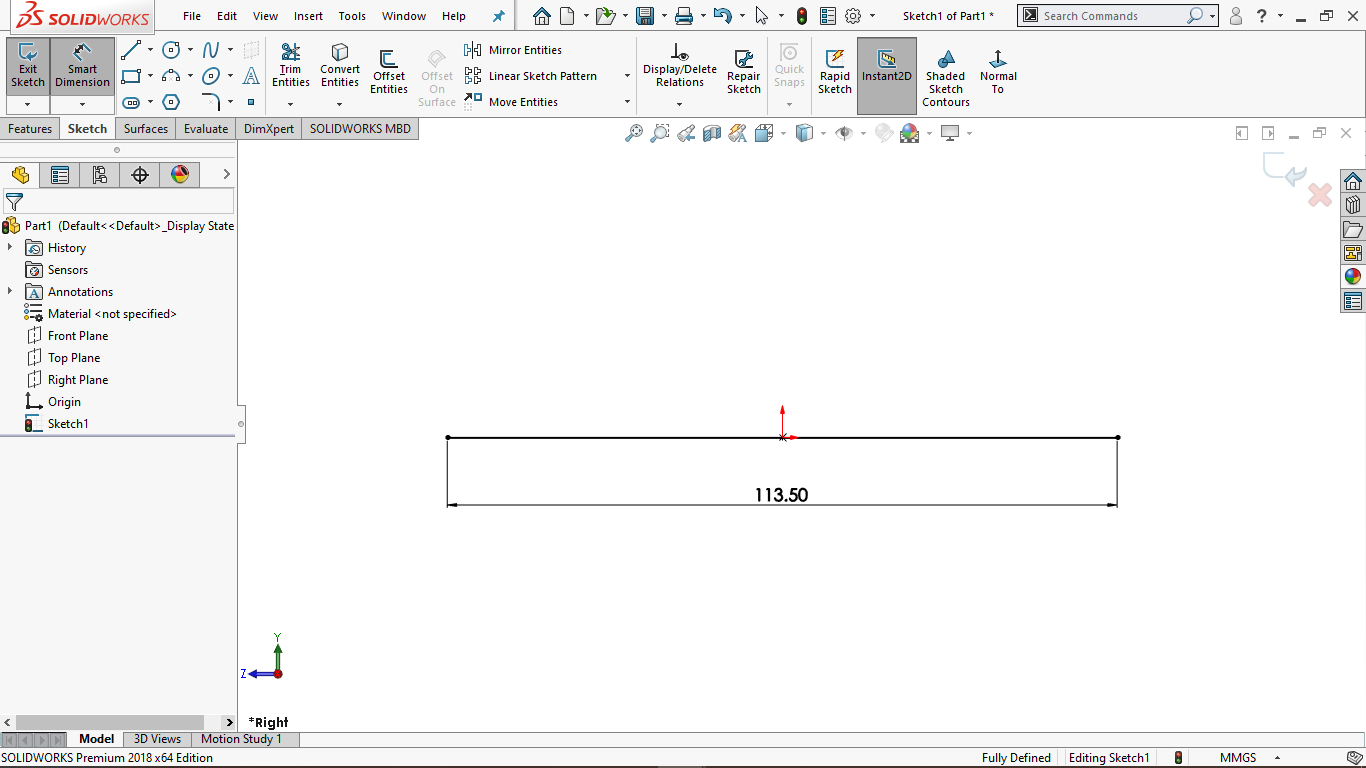 This image shows a horizontal line in solidworks