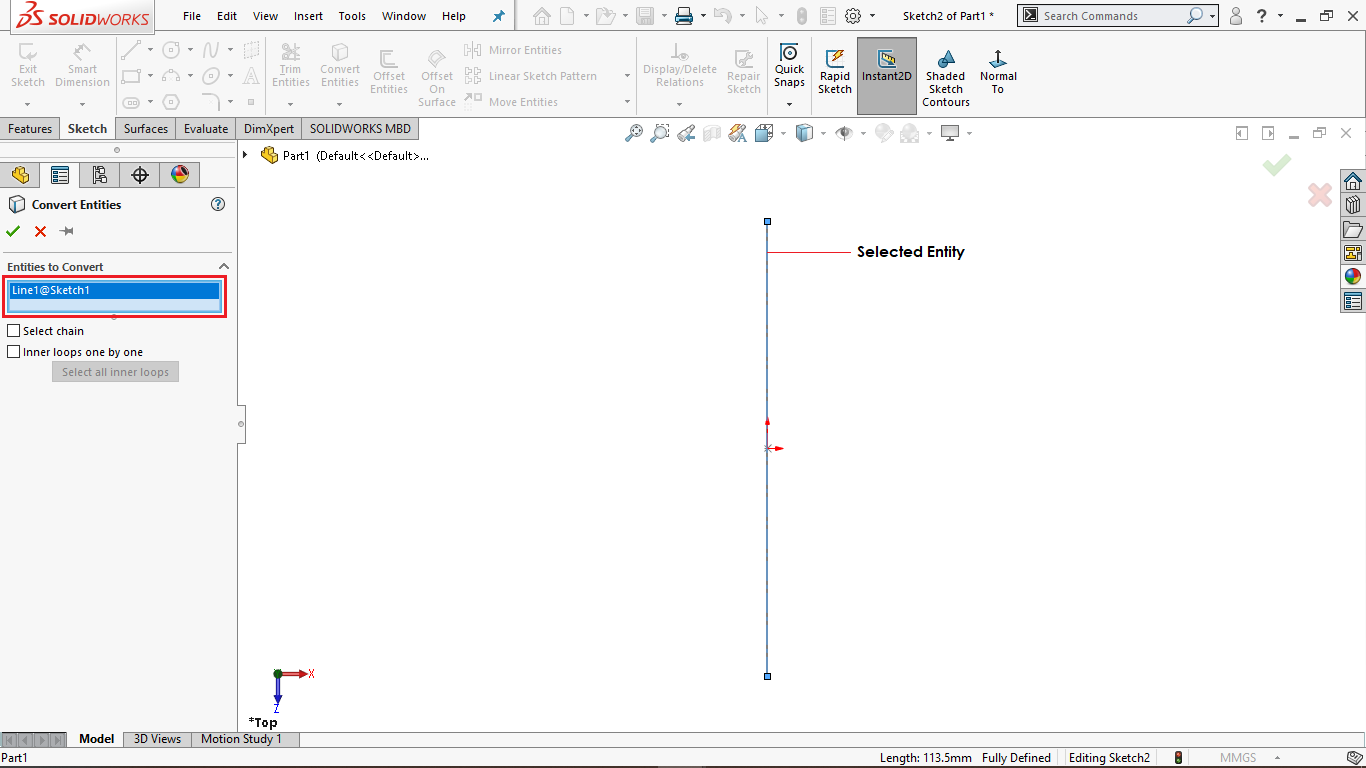 Convert Entities in Solidworks