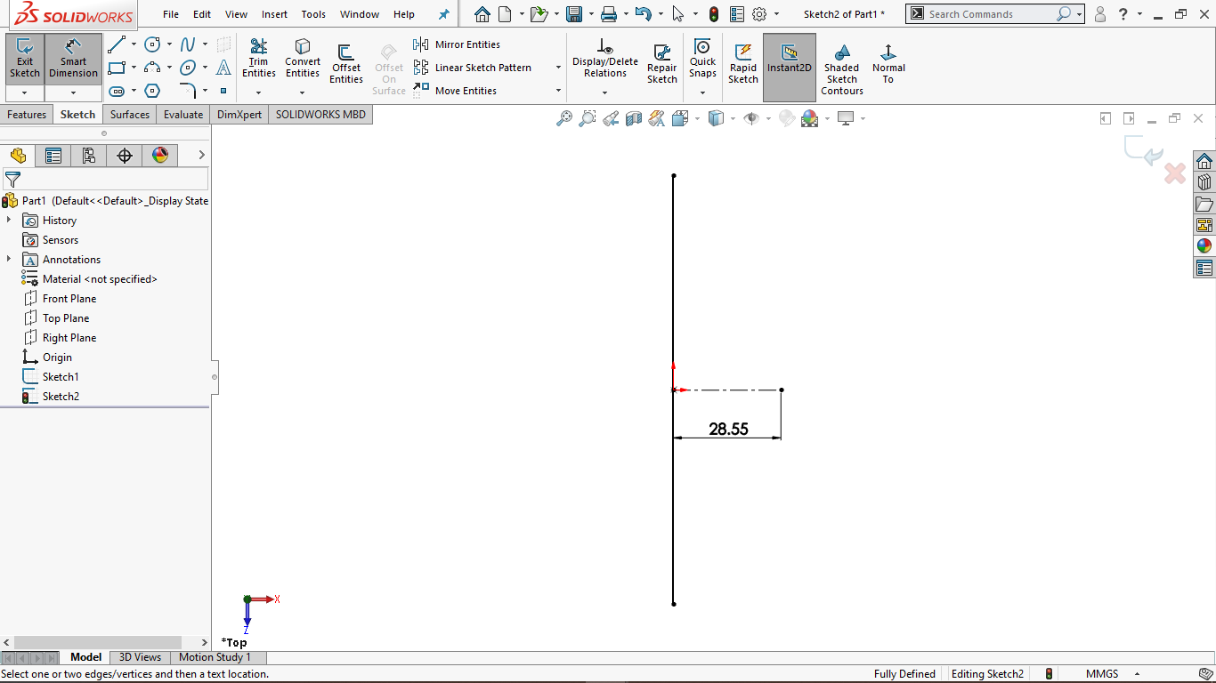 Horizontal centerline in solidworks