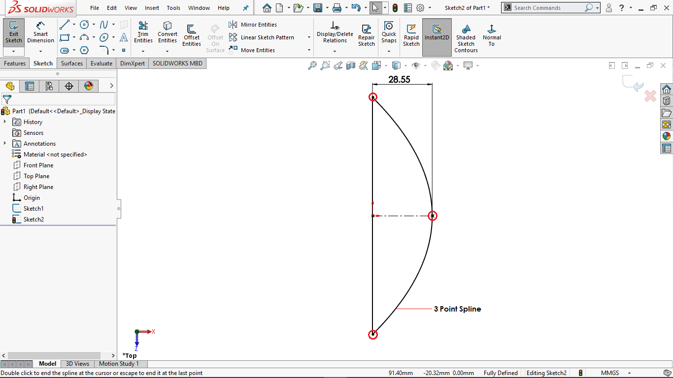 Spline sketch with a horizontal centerline in solidworks